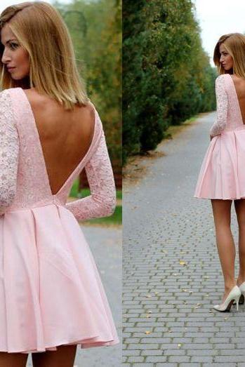 Pink Evening Dress, Homecoming Dress,Lace Homecoming Gowns,Backless sweet 16 dress