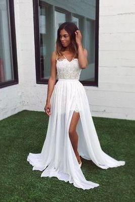 Chiffon Prom Dresses,white Prom Dresses,sexy Prom Dresses,slit evening gowns