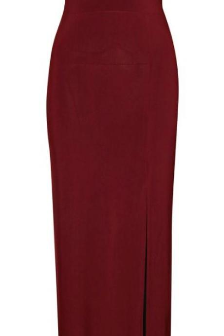 Burgundy Plunge V Long Bodycon Evening Dress Featuring Criss-Cross Back and High Slit