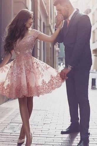 Homecoming Dresses, Charming Prom Dress,Lovely Cute Prom Dress,Sexy Prom Gown,Lace Homecoming Dresses,homecoming gown,Pink prom gowns