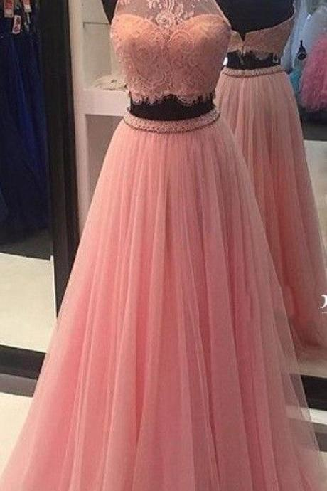 2017 New Arrival Sexy Long 2 pieces Prom Dresses,Evening Party Dress,Pink Prom Gowns,Lace Evening Gowns
