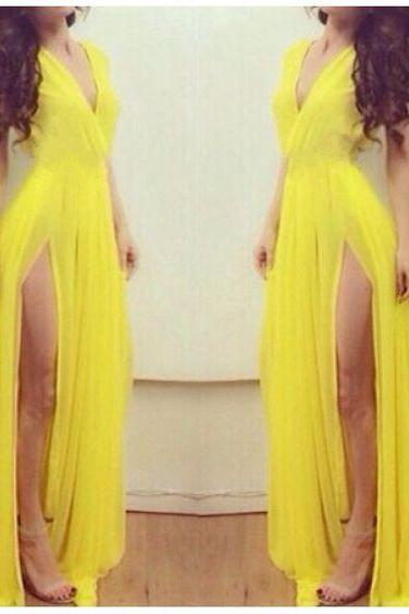 Prom Dress,Sexy Prom Dress, Yellow Prom Dresses,Vintage Yellow Evening,Prom Dress With Slit