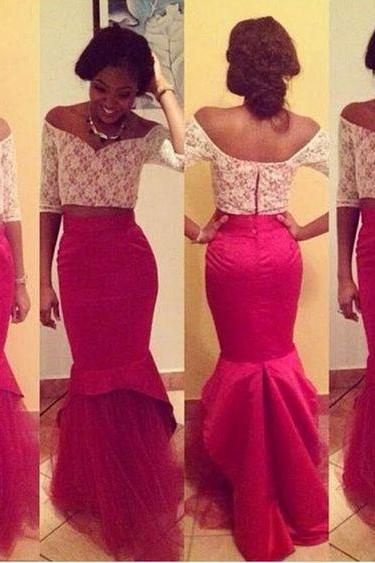 Long Prom Dresses,2 pieces Prom Gowns,Sexy Prom Women Dress,2 piece Evening Dress,red Prom Party Dress