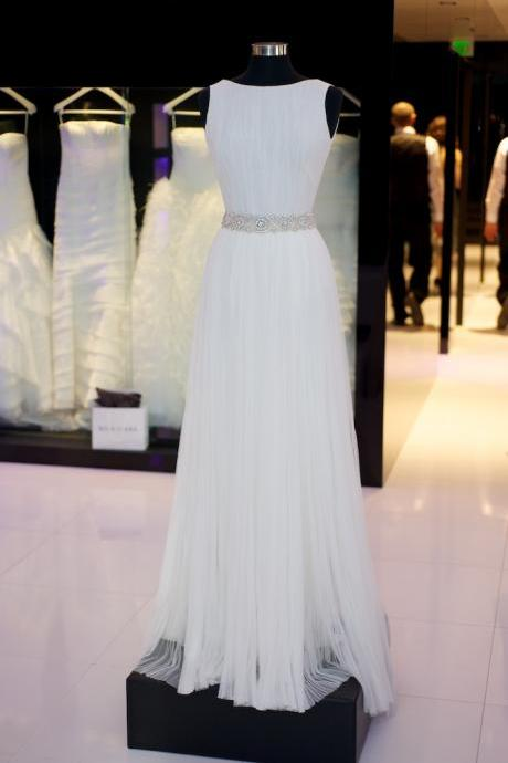 White Chiffon Sleeveless Floor Length A-Line White Prom Dress Featuring Beaded Embellished Belt, Evening Dress