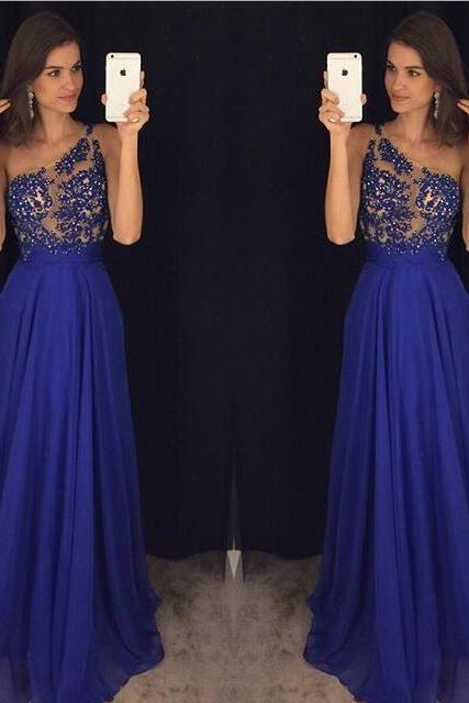 One Shoulder Prom Dress,royal blue Evening Dress,2017 Prom Gown,lace Party Dress,Long Prom Dress,Royal Blue evening gowns