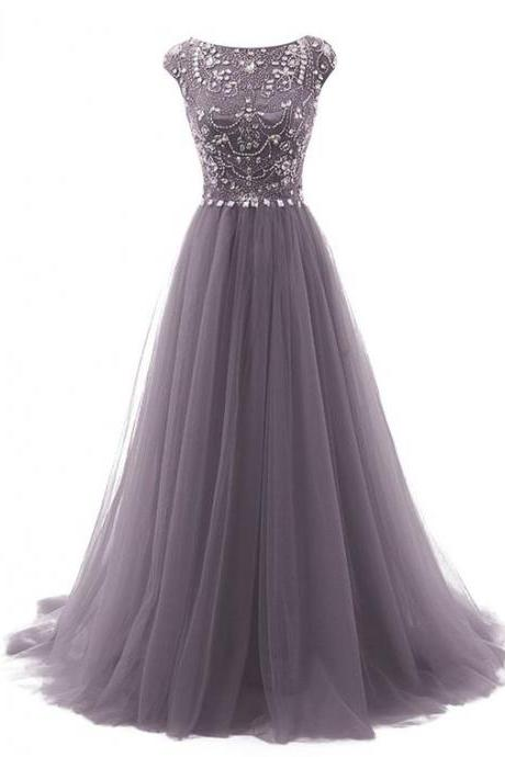Grey Floor Length Tulle A-Line Prom Dress Featuring Beaded Embellished Cap Sleeves Bodice
