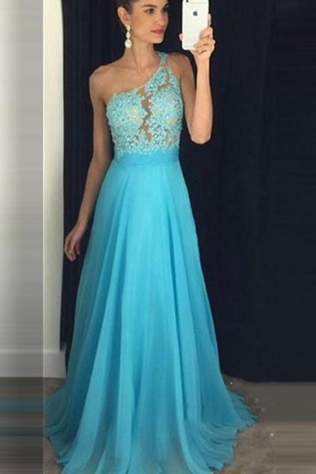 A Line Evening Dresses,One Shoulder Lace Appliques Chiffon Prom Dress,Long Prom Dresses