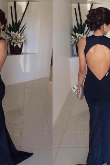 Simple V-Neck Mermaid Evening Dresses 2017 Sexy Open Back Party Gowns For Women