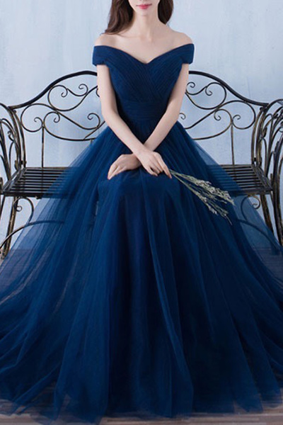 Charming Tulle Long Prom Dress,Prom Dress,Evening Dress,Prom Dresses