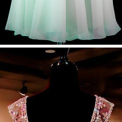 Mint Green Beaded Open back Sexy Backless Homecoming Dresses, Sweet 16 Cocktail Dresses