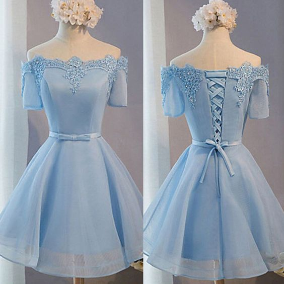 Light Blue off shoulder with short sleeve lace lovely homecoming prom dresses