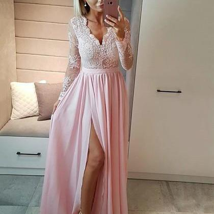 Long Sleeve Prom Dresses, A-line evening gowns,sexy ball gowns, custom made prom,new fashion,Lace Prom Dress Long Evening Dress