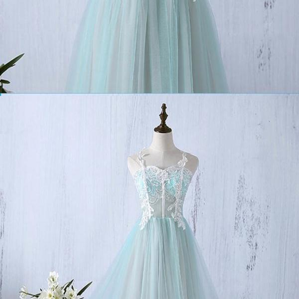 Sweetheart neckline evening gowns,sexy prom gowns, custom made prom, mint tulle ball gowns, long lace applique prom dress, floor length part