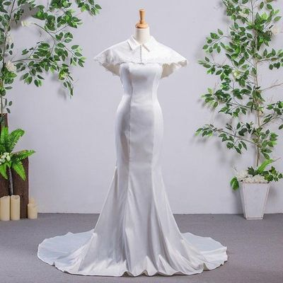 Simple Sleeveless Mermaid Satin Wedding Dresses With Removable Cape