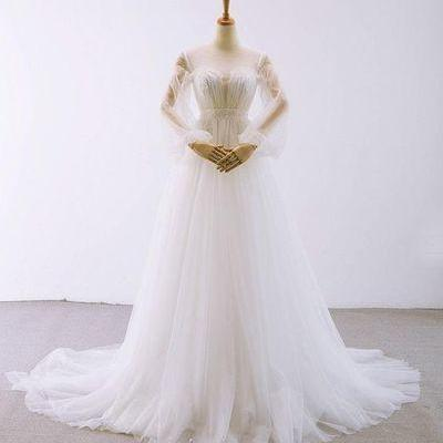 White Scoop Neck Long Sleeves Wedding Dresses,A Line Bridal Dresses