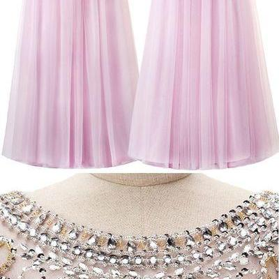 Amazing Tulle Bateau Neckline A-Line Prom Dress With Beadings,