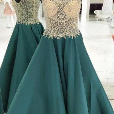 See Through Heavily Beaded Bateau Green A-line Long Evening Prom Dresses,