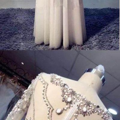Long Sleeve Prom Dresses Bateau A-line Rhinestone Sparkly Long Prom Dress