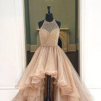 Halter High-Low Beaded Prom Dress Party Ball Gown Dress for Prom