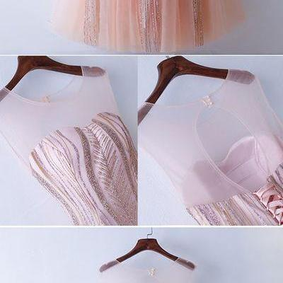Unique Illusion Neckline Sparkly Pink Prom Dress Long Tulle,