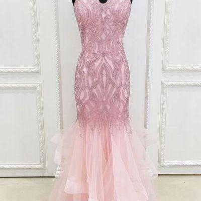 Sparkly Beads Pink Mermaid Long Prom Dress Evening Dress,