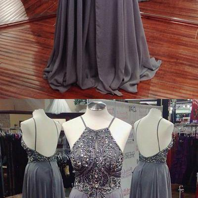 Gray Long Elegant Beading Chiffon Open Back A-line Prom Dresses,Party Dresses