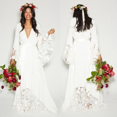 2019 Summer Beach BOHO Wedding Dresses Bohemian Beach Hippie Style Bridal Gowns with Long Sleeves Lace Flower