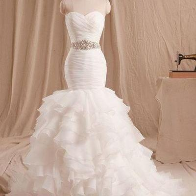 Sweetheart Bridal Dress with Beading,Mermaid Wedding Dress,Beautiful Prom Dress