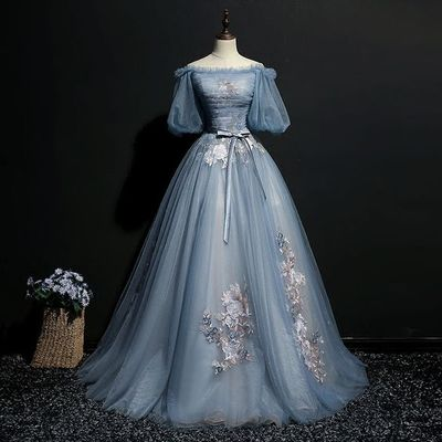 Custom Made Dazzling Prom Dresses Long, Embroidery Prom Dresses