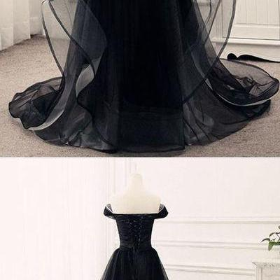 Black tulle sweetheart neck off shoulder customize long ruffles evening dresses