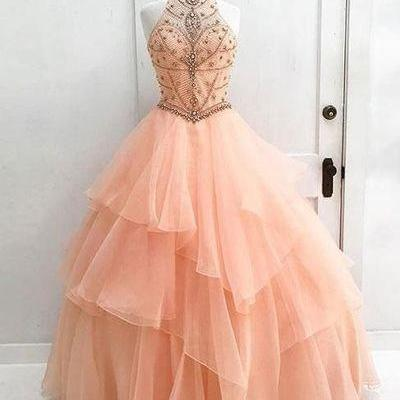 Long Prom Dress Ball Gown Halter High Neck Beaded Bodice Organza Quinceanera Dresses