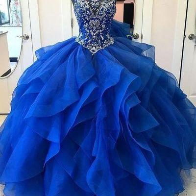 Royal Blue Ball Gown High Neck Rhinestone Beaded Long Evening Prom Dresses