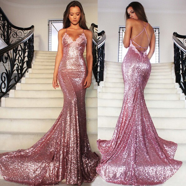 Backless Mermaid prom dress, Sexy Sequin prom dress, prom dresses