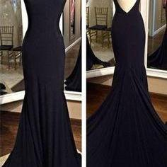 Simple Long Mermaid Prom Dresses Backless Modest Prom Gowns