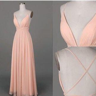 Spaghetti Straps Prom Dresses Long Blush Pink Backless Evening Dresses