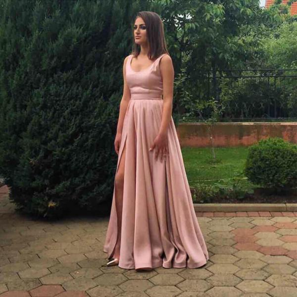 Charming Prom Dress, Sexy Evening Party Dress, Split Side A Line Prom Dress