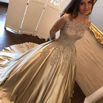 Charming Prom Dress, Appliques Evening Dress, Full Sleeve Prom Dress, Formal Dress