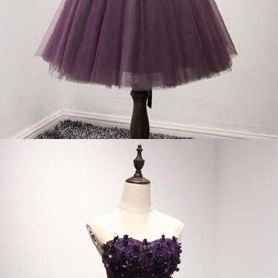Deep Purple Sweetheart Homecoming Dresses Beaded Top Homecoming Dress
