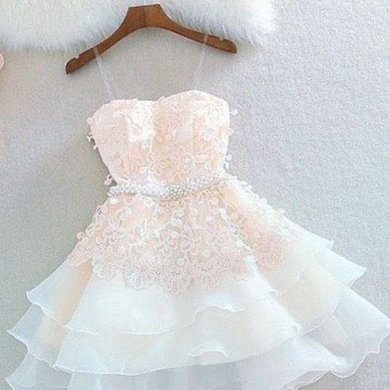 Cute A Line Sweetheart Spaghetti Straps Blush Short Homecoming Dresses with Appliques