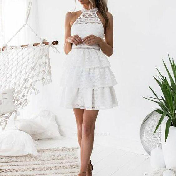 Homecoming Dress A-Line, Party Dresses White, Party Dresses Lace, White Lace Party Dresses