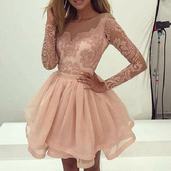 Prom Dresses 2019, Long Sleeves Homecoming Dresses, Pink Prom Dresses, Prom Dresses Short