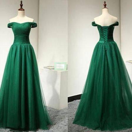 Green Prom Dress Off The Shoulder Straps