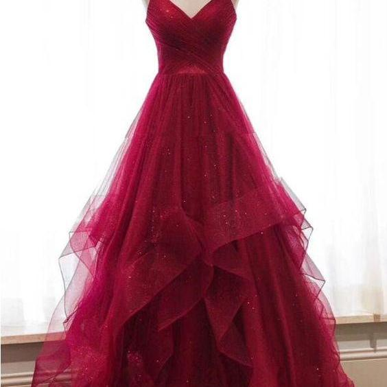 Wine Red Straps Formal Dress, Prom Dress 2019, Party Gowns