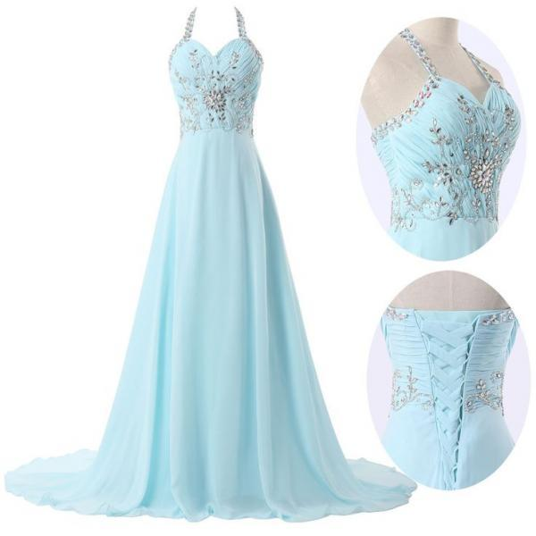 Halter Ruched Chiffon A-line Long Prom Dress, Evening Dress Featuring Rhinestone and Jewel Embellishment and Lace-Up Back