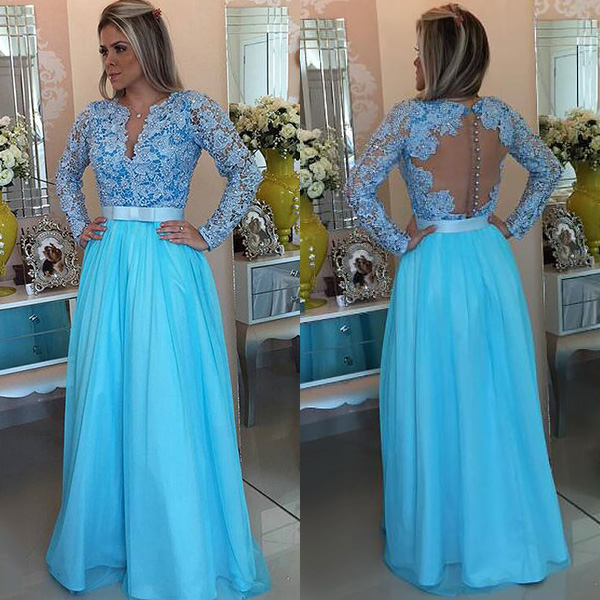 New Arrival Prom Dress Evening Dress Floor-length Sky Blue Prom Dresses, Long Sleeve Lace Prom Dress with Belt, Pearl Beaded A-line Prom Dresses