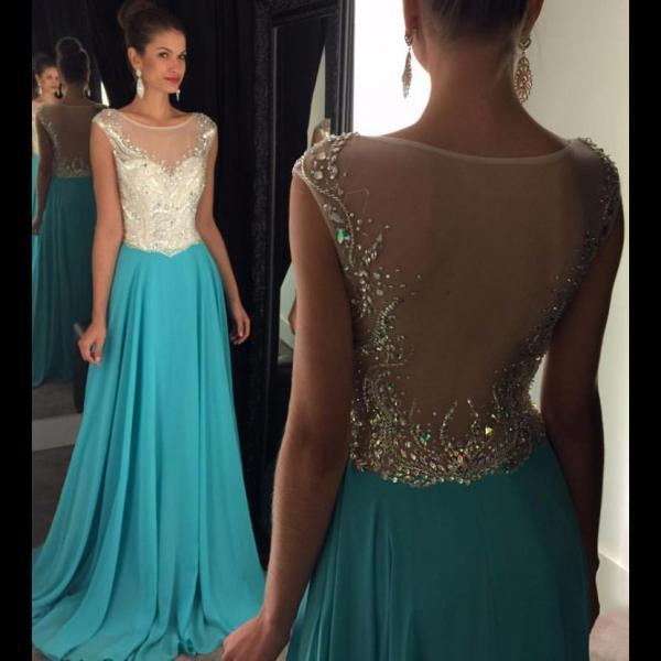 Charming Prom Dress,New Prom Dress,Cap Sleeve Long Prom Dresses, A-line Illusion Beaded Prom Dress with Sweep Train, Trendy See-through Prom Dresses