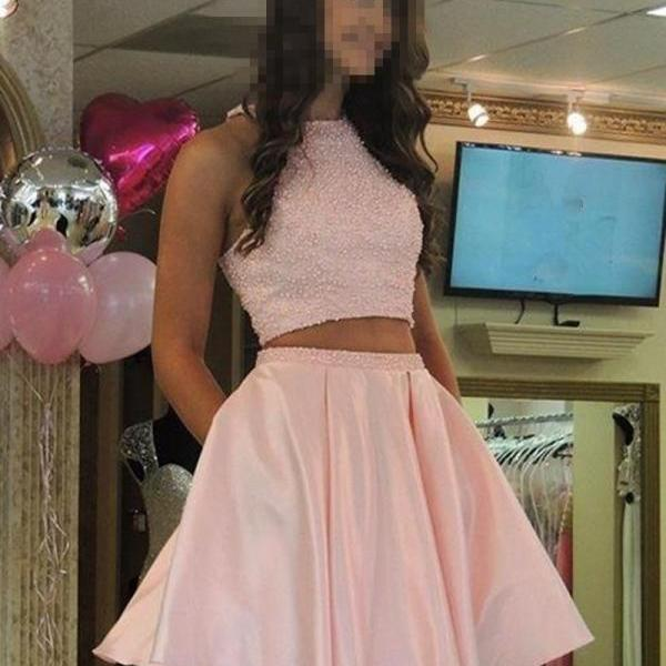Sexy Short Prom Dress , Pink Two Pieces Homecoming Party Dress Pearls Beading Crop Top Girls Graduation Gowns