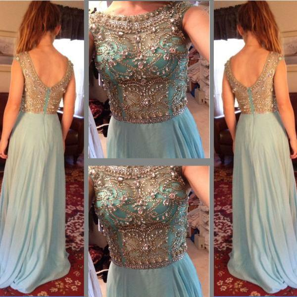 Prom Dress,Luxury Prom Dress,Sexy Prom Dress,Blue Prom Dress,Beaded Prom Dress,Chiffon Prom Dress,Cap Sleeved Prom Dress,Long Prom Dress,Dress for Prom