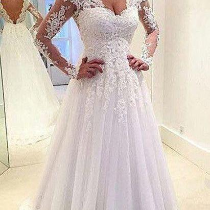 White/Ivory Lace Wedding Dresses,Long Sleeve Lace Wedding Dress Sheer Back, Lace Wedding Dress, Wedding Dress 2017, Wedding Dress