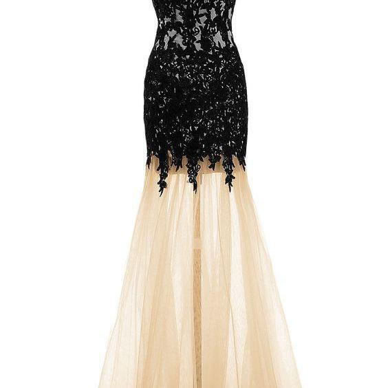 V-Neck Spaghetti Strap Mermaid Long Prom, Evening Dress with Sheer Skirt and Lace Appliqués